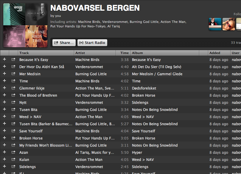 "Spotify: A big welcome to ""nabovarselbergen"""